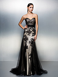Homecoming Formal Evening Dress - Black A-line Sweetheart Sweep/Brush Train Tulle