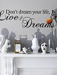 Ne rêvez pas votre vie murales maison de décoration autocollants décoratifs zooyoo8142 vinyle amovible stickers muraux