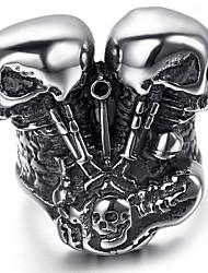 Mens Stainless Steel Ring, Vintage, Skull, Motor, Engine KR1953