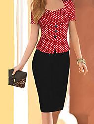 Women's Vintage Square Neck Button Dress , Cotton Blends Knee-length