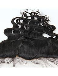 13x4 Brazilian Human Virgin Hair Light Brown Base Color Free Part Frontal Closure Body Wave