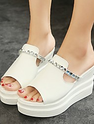 Women's Shoes Crystal Wedge Heel Slippers Casual White/Silver