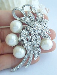 Wedding Accessories Silver-tone Pearl Rhinestone Bridal Brooch Wedding Deco Bridal Bouquet Wedding Brooch Bridal Jewelry