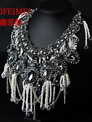 Gemstone pendant tassel pearl necklace female accessories