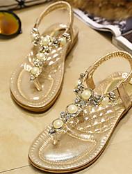 Flach - 0-3cm - Damenschuhe - Sandalen ( Gummi , Gold/Silber )