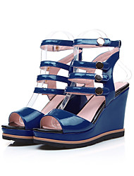 Women's Sandals Summer Platform Comfort Gladiator Patent Leather Office & Career Casual Party & Evening Wedge Heel Platform Buckle Blue