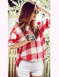 Camisas Casuales ( Poliéster )- Casual Cuello de camisa Manga Corta para Mujer