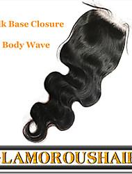 "1Pc/lot 8""-24"" Peruvian Virgin Hair Natural Color Body Wave 4""X4"" Top Silk Base Closure"