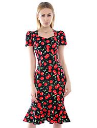 vestido, algodón / spandex bodycon / partido / trabajo rojo de la vendimia de las mujeres