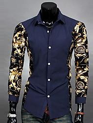 Maimi Casual/Work/Formal Print Long Sleeve Regular Shirts (Polyester)