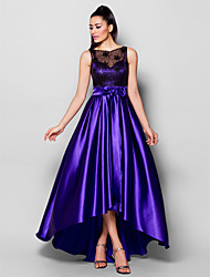 TS Couture® Formal Evening Dress Plus Size / Petite A-line Bateau Asymmetrical Stretch Satin with Beading / Bow(s) / Lace / Sash / Ribbon