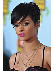 Celebrity Hairstyles Rihanna Sexy Hairstyle Black Short Straight Lady's Fashion Synthetic Hair Wigs