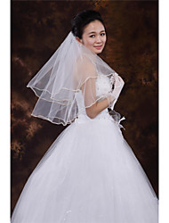 Wedding Veil Two-tier Elbow Veils Ribbon Edge Tulle White / Ivory / Beige