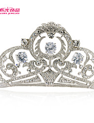 Neoglory Jewelry Big Flower Tiara Crown Hair Accessories with Clear Rhinestone Zirconia for Lady Wedding Pageant
