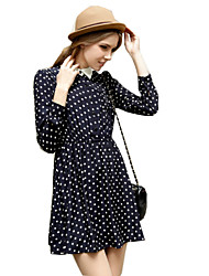 Women's Polka Dot Blue Dresses , Print Shirt Collar Long Sleeve