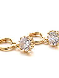 Hoop Earrings Zircon Cubic Zirconia Gold Plated Jewelry For 2pcs