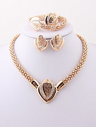 Classic Wedding Heart Crystal Rhinestone Gold Plated (Including Necklace, Earring, Bracelet, Ring) Jewelry Sets
