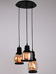 Antique Glass Shade,3 Light,Artistic Minimalist Pendant