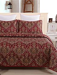 queen size vermelho floral colcha de 1pc quilt com 2pcs de fronhas