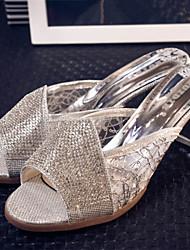 Women's Shoes Chunky Heel Open Toe Slippers Dress Silver/Gold
