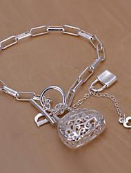 Siver Plated Lock Shape Copper Chain Bracelet