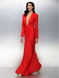 TS Couture Formal Evening Dress - Sexy Sheath / Column V-neck Floor-length Jersey with Ruching