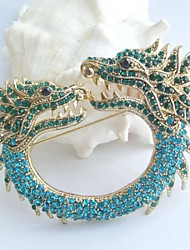 Women Accessories Gold-tone Turquoise Green Rhinestone Crystal Dragon Brooch Art Deco Crystal Brooch Pin