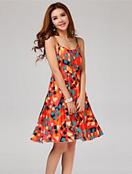 Women's Orange Dress , Beach Bateau Sleeveless