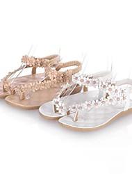 Zapatos de mujer - Tacón Plano - Comfort / Talón Descubierto - Sandalias - Casual - Semicuero - Blanco / Beige