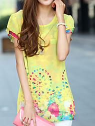 Women's Print Yellow Blouse,Round Neck Short Sleeve