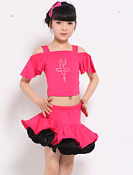 Latin Dance Performance Outfits Children's Training Polyester Rhinestones Outfit Black/Fuchsia/Yellow Kids Dance Costumes