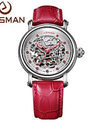 relógio marca easman mulheres diamante rubi 2015 couro multifunções relógio de pulso relógio mecânico