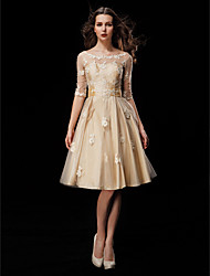 Lanting Bride A-line Petite / Plus Sizes Wedding Dress-Knee-length Scoop Taffeta / Tulle