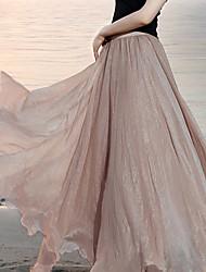 Women's Sexy Beach Cute Inelastic Thin Maxi Skirts (Chiffon)