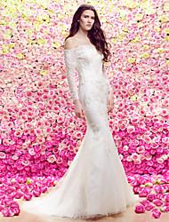 Lanting Bride Lanting Trumpet/Mermaid Wedding Dress - Ivory Sweep/Brush Train Bateau Lace / Tulle