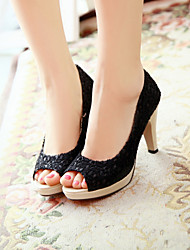Women's Shoes Fabric Platform Heels/Peep Toe/Platform Sandals/Pumps/Heels Wedding/Dress/Casual Black/Red/White/Beige