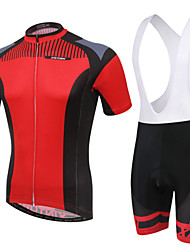 WEST BIKING® Men's Mountain Bike Clothing Bib Suit Breathable Red Pattern Wicking Cycling Clothing Bib Short Suit
