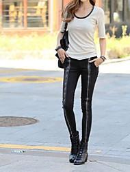 Women's Solid Black/Green Skinny Pants , Casual Zipper