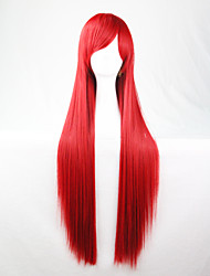 Cos Anime Bright Colored Wigs Red Long  Straight  Hair Wig 80 cm