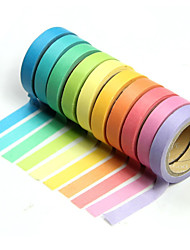10PCS Popular Rainbow Washi Sticky Paper Masking Adhesive Decorative Tape Scrapbooking DIY for Decorative 10 colors