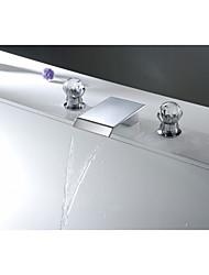 Aquafaucet Crystal Handle Widespread Bathroom Sink Vessel Faucet Lavatory Vanity Basin Mixer tap
