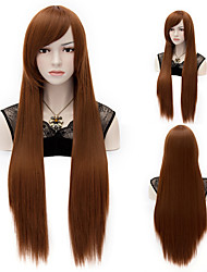 Hot Sale Brown Straight Long 32 Inch  Lady Wigs Hair Beautiful Synthetic Hair Wigs