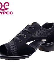 Non Customizable Women's Dance Shoes Dance Sneakers/Modern Leather/Fabric Chunky Heel Black/Red/Gray