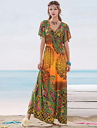 Women's Sleevless Printted Long DressWomen's Bohemia Printted Beach Holiday Dress