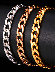 U7® Men's Classical 18K Gold/Rose Gold/Platinum Plated Thick Bracelet Men Jewelry Cool Cuban Link Chain Bracelets