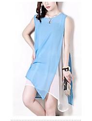 Women's Round Dresses , Chiffon Beach/Casual/Cute/Party Sleeveless ANWENXI