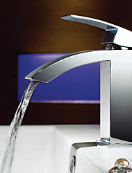 Shengbaier Solid Brass Waterfall Bathroom Sink Faucet - Chrome Finish