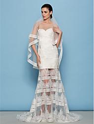 Lan Ting Sheath/Column Wedding Dress - Ivory Sweep/Brush Train Scoop Lace