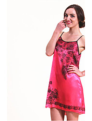 WEST BIKING® Women's Lingerie Satin Chemise Fancy Home Clothes Minidress Flower Silk Sleep Dress Rayon Sleepwear