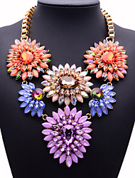 JQ Jewelry Big Name Long Crystal Flower Necklace